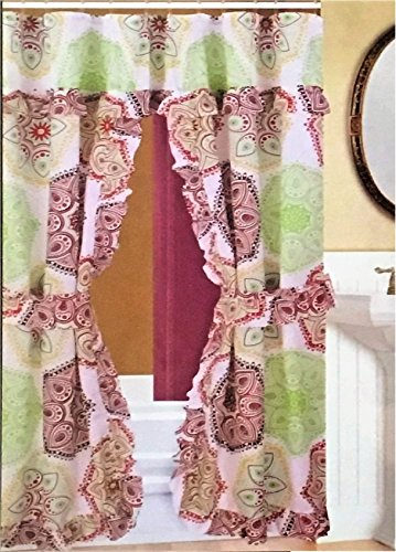 Swag Shower Curtain - Double Swag Fabric Shower Curtain/12 Coordinated Rolling Ring Hooks, 2 Tie Backs (Round Design ~ Colorful)