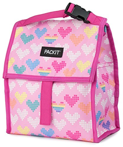 PackIt Freezable Lunch Bag with Zip Closure, Pixel Hearts (Heart Lunch)