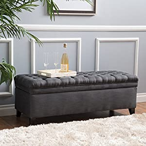 Christopher Knight Home 296933 Living Sheffield Tufted Fabric Gray Storage Ottoman,