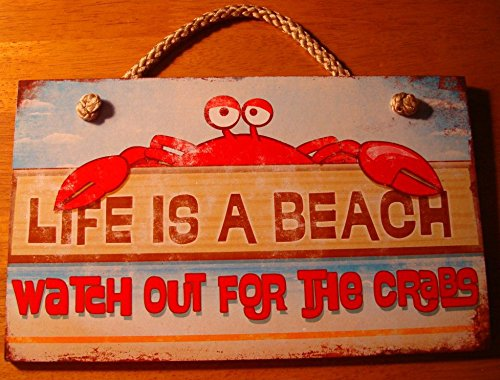 - Life Is A Beach Watch Out For The Crabs Home Decor Sign Nautical Rope Hanger