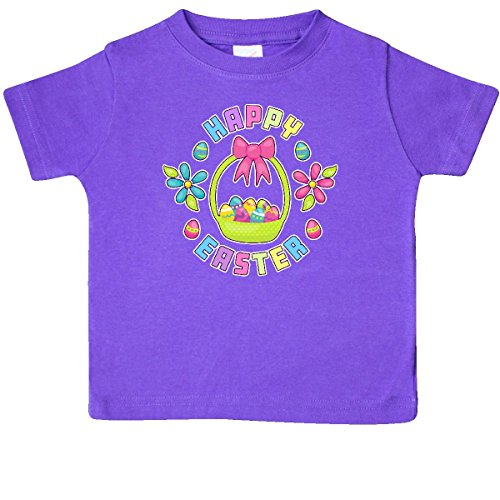 inktastic Happy Easter With Basket Flower Baby T-Shirt 18 Months Purple 2eb45 (Happy Easter Basket)