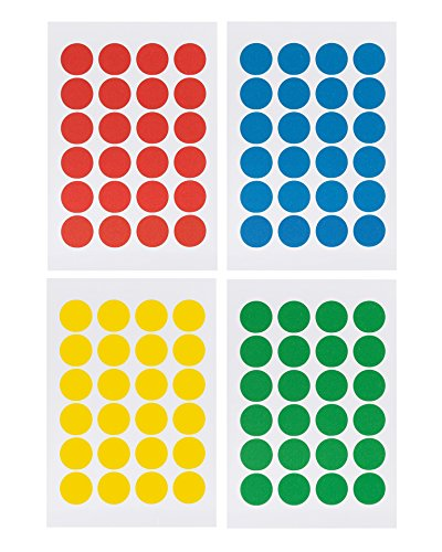 Saurus Pack of 2016 Round Color Coding Dot Labels, Multicolored, Red, Blue, Yellow, Green, Pack of 2016, 0.75 Inches, 4