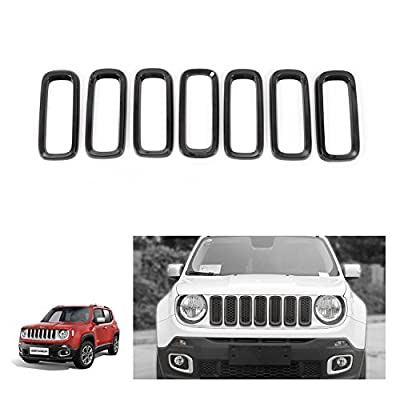 RT-TCZ Black ABS Front Grill Grille Inserts for 2015-2020 Jeep Renegade Unlimited (Pack of 7): Automotive