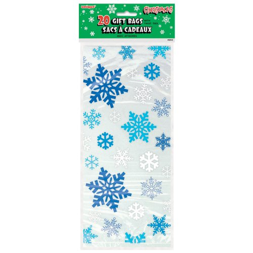 Snowflake Winter Party Cellophane Bags, 20ct -