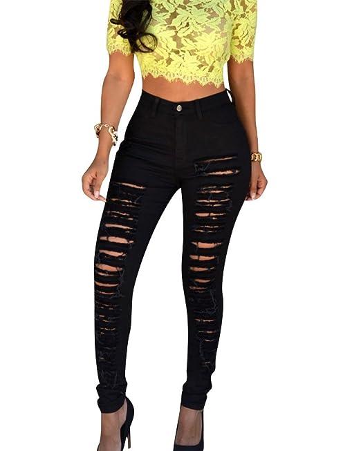 Moollyfox Donna Vita Alta Skinny Strappati Denim Lunghi Pantaloni Matita  Leggings Jeans Nero XL 28aec5c9df1
