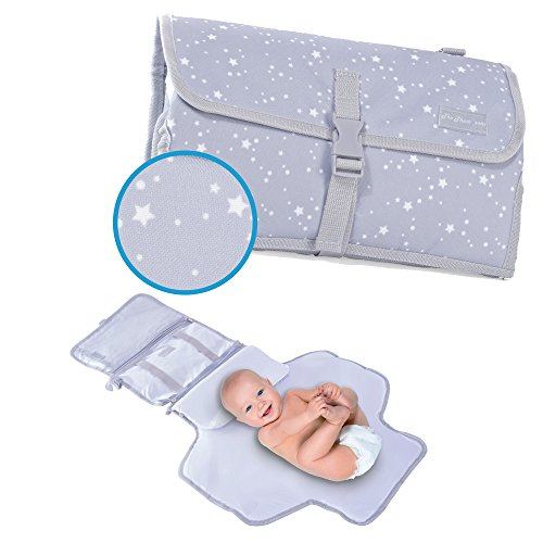 Portable Diaper Changing Pad – Built-in Extended Foldable Head Pillow – Mat 100% Waterproof – Wipe-Clean Travel Changing Station Kit, Detachable Clutch – Baby Shower Gift – Light Grey