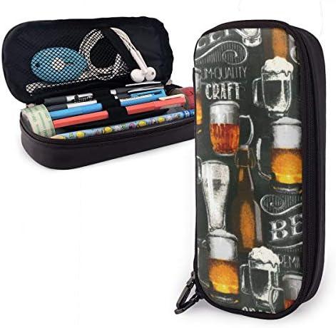 Federmäppchen mit großer Kapazität für langlebige Studenten Schreibwaren mit Reißverschluss Bürobedarf Tasche für Jungen Mädchen Cool Bier Bar Craft Brauerei