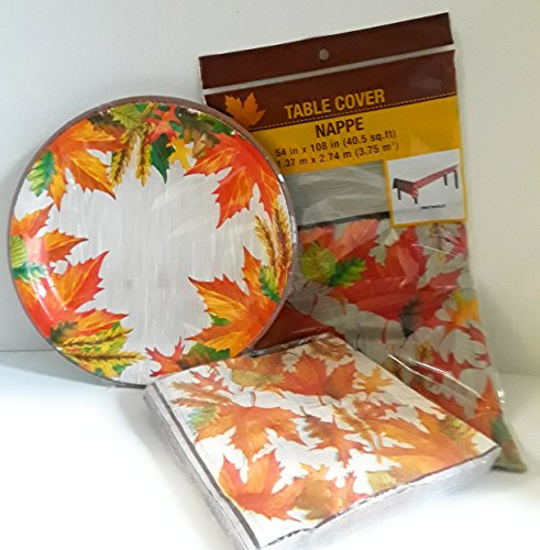 Autumn Leaves Gift Box (FALL/AUTUMN DECORATIVE PARTY SUPPLIES PAPPER GOODS 18 AUTUMN LEAF PAPPER PLATES 18 MATCHING NAPKINS AND 1 TABLE COVER 54