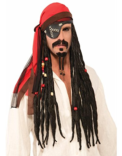 Pirate Headscarf with Black Beaded Dreads (Pirate Facial Hair)