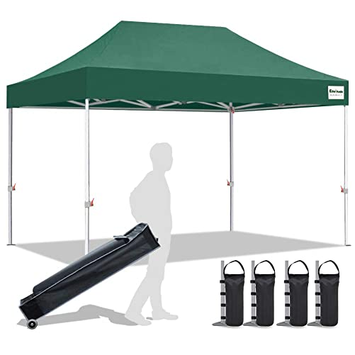 EliteShade 10 x15 Commercial Ez Pop Up Canopy Tent Instant Canopy Party Tent Sun Shelter with Heavy Duty Roller Bag,Bonus 4 Weight Bags,Forest Green