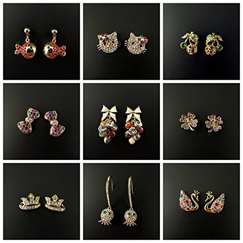 Manufacturers produced gold plated rose gold diamond swan Shih flowers knot women's earrings 170917