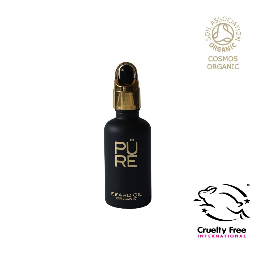 Organic Beard Oil Bottle with 100% Natural Ingredients by [The PÜRE Collection] | Original OUD Vegan Beard Oil | Non-Greasy Premium Vegan Beard Grooming Oil | Rapid Growth of an Attractive and Manly Beard (50 ml)