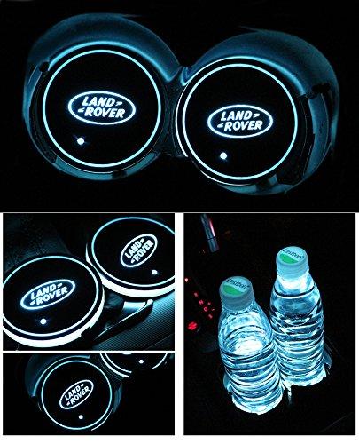 Car Logo LED Cup Pad led cup coaster USB Charging Mat Luminescent Cup Pad LED Mat Interior Atmosphere Lamp Decoration Light (Range - Rover Land Interior Lights