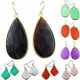 rockcloud Crystal Stone Dangle Hook Earrings Oval Gold Plated