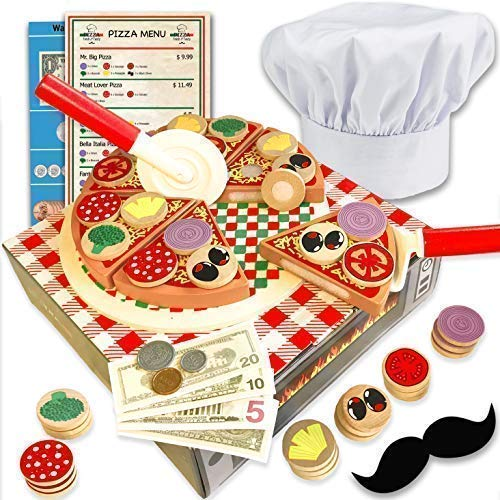 - Wooden pizza toy for kids Pizza Play Food Set - Wooden play food sets for kids with chef hat (121 pcs) -Most Complete Kids Pizza Set Oven Toy & Sticky tab toppings - Pretend Play pizza set for kids