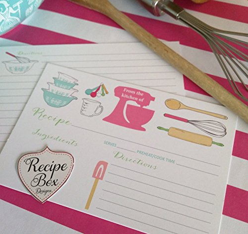Recipe Cards 4x6 - 13 The Pink Mixer Recipe Cards, Recipe Cards have lines on the back for addtional information