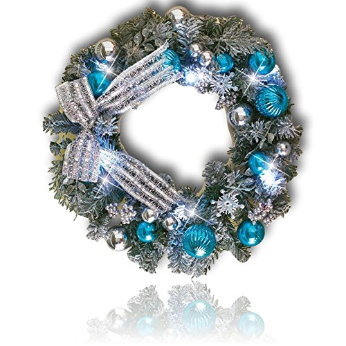 "Custom & Unique (18"" Inches) 1 Single Mid-Size Decorative Holiday Wreath for Door w/ Ribbons Bows Ornaments Pine Wreath Winter Wonderland Metallic Christmas Time Festive Style (Blue, White & Silver)"