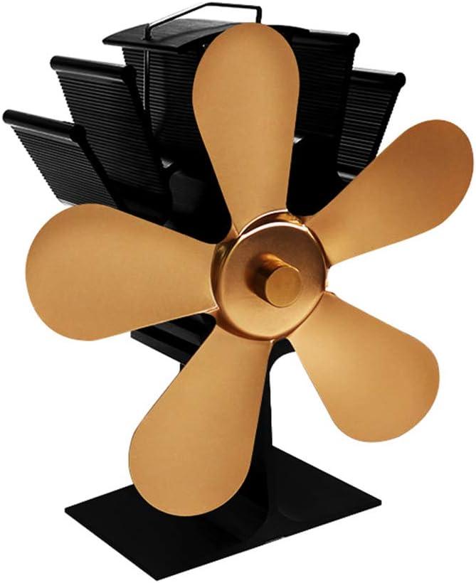 Ventilador De La Estufa De Calefacción Ventilador De Chimenea Ventilador De Chimenea De Quemador Decoración De La Chimenea Circula Mejorando La Convección Del Aire Interior,Gold