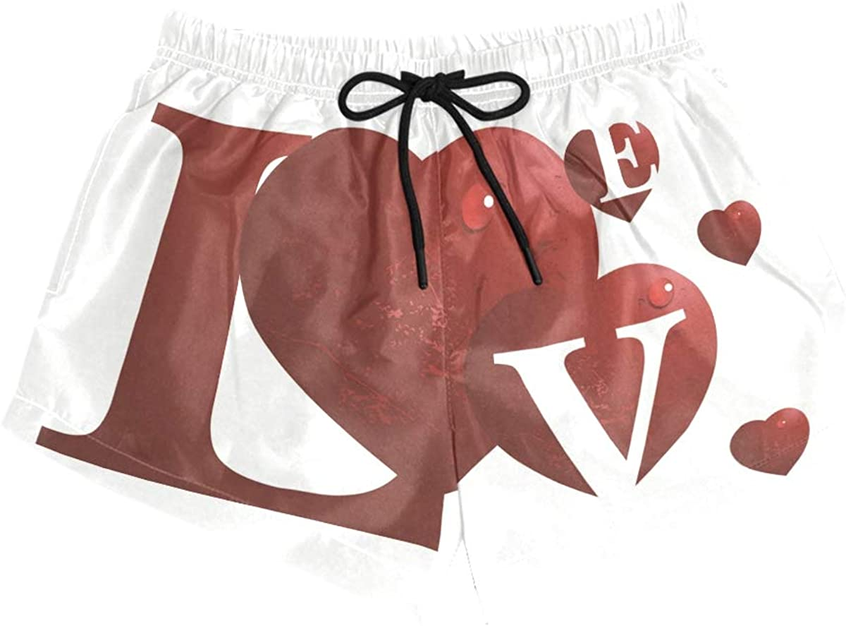 HEOEH Womens Uunique Valentines Day Love Beach Shorts Pants Ladies Boardshort Swimming Trunks