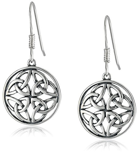 Sterling Silver Oxidized Celtic Knot Round Drop Earrings (Celtic Sterling Earrings)