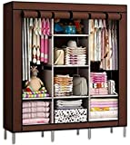Anva Collapsible Organizer Storage Closet with 6 Cabinet and 2 Long Shelves Foldable Portable Non-Woven Fabric Wardrobe (130 X 45 X 175 cm, Dark Brown)