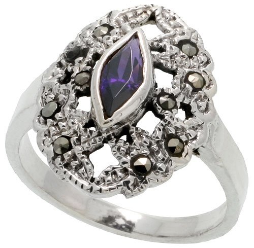 (Sterling Silver Marcasite Oval-shaped Ring, w/ Marquise Cut Amethyst CZ, 3/4