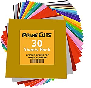 """Permanent Adhesive Backed Vinyl Sheets by PrimeCuts USA - 30 Vinyl Sheets 12"""" x 12"""" - 30 Assorted Color Sheets for Cricut, Silhouette Cameo, and Other Craft Cutters"""