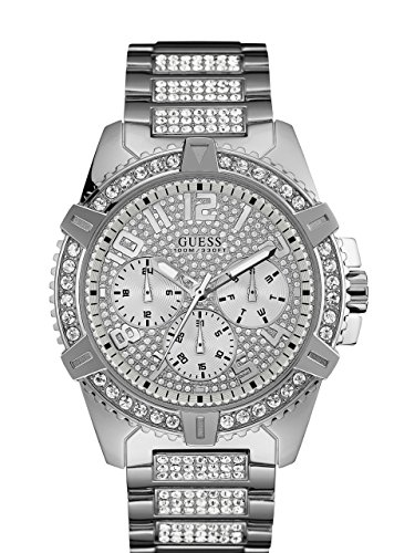 GUESS  Stainless Steel Crystal Embellished Bracelet Watch with Day, Date + 24 Hour Military/Int'l Time. Color: Silver-Tone (Model: - Guess Watch Accent Crystal