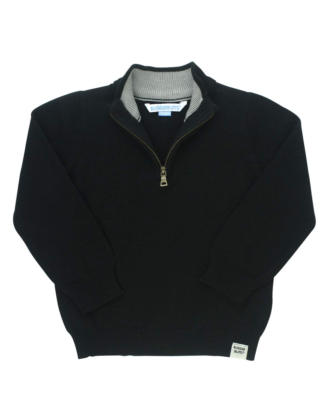 RuggedButts Little Boys Black Quarter-Zip Sweater - 4T