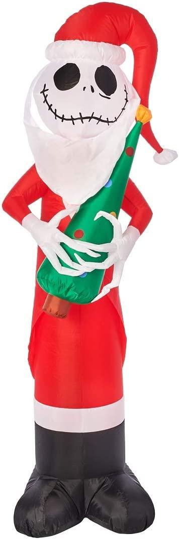 Holiday Yard Inflatables Jack Skelington with Christmas Tree, 5.5 ft