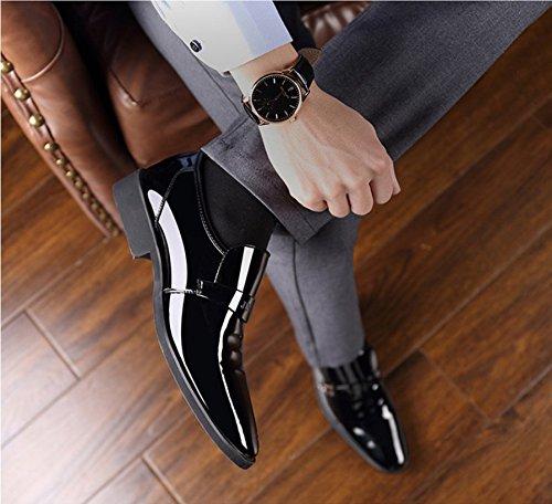 Punk family Men's Business British Dresses Chaussures de Sculpture en Cuir Verni Noir igqrAg