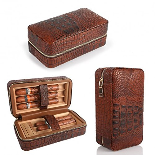 - LAGUTE Groucho Cigar Case Travel Genuine Leather Humidor CC-01, Cedar Wood Lined with Humidifier and Removable Trays, Portable Light Weight Cigar Box Gift Set