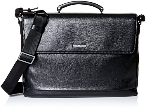 HUGO Hugo Boss Men's Element Leather Briefcase, Black