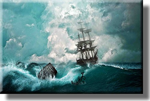 Ship Sailing in Thunderstorm Picture on Stretched Canvas, - Ship In Storm Art