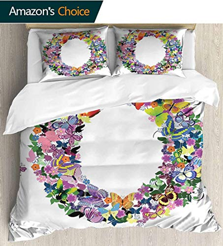 - Letter O 3 PCS King Size Comforter Set,Uppercase Initial with Butterflies and Flowers Festive Spring Inspired Composition Decorative 3 Piece Bedding Set with 2 Pillow Sham 87