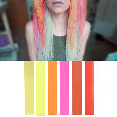HOT Colors Ombre Hair Color Set | 6 PINK RED STRAWBERRY BLONDE Hair Dye Shades | With Shades of Beige, Yellow, Orange, Pink, Coral & Red A Pack of 6 Temporary Hair Chalk | Color your Hair Red to Blonde Ombre in seconds with temporary HairChalk