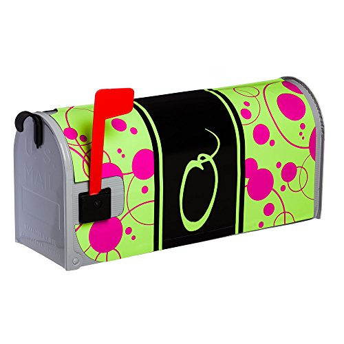 Line Standard Sized Monogram - Monogram Peppy Pink Glow in the Dark Magnetic Mailbox Cover - O
