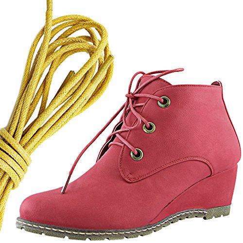 Dailyshoes Moda Donna Allacciatura Punta Rotonda Stivaletto Zeppa Alta Oxford, Giallo Rosso Pu