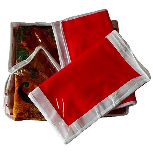 Indi Bargain Saree Cover Set Transparent Non Woven Double Saree Cover   Set of 3