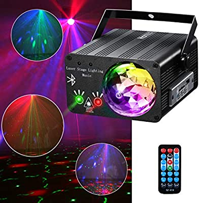 Hotec Sound Activated Disco Ball and Laser Party Lights with Bluetooth Speaker, Stage Laser and LED Lights for Xmas Club Bar KTV Holiday Dance Christmas Birthday Home Decoration