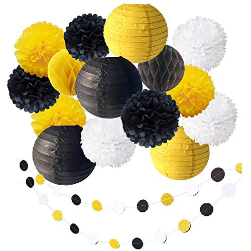 17 Pack Bee Party Baby Shower Decoration Yellow Black Hanging Paper Lantern Honeycomb Balls Tissue Paper Pom Poms Circle Paper Garland for Bumblebee Boy Girl First 1st Birthday Bridal Photo Backdrop]()