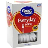 Great Value White Forks, 100 ct,Great for everyday, picnics or parties