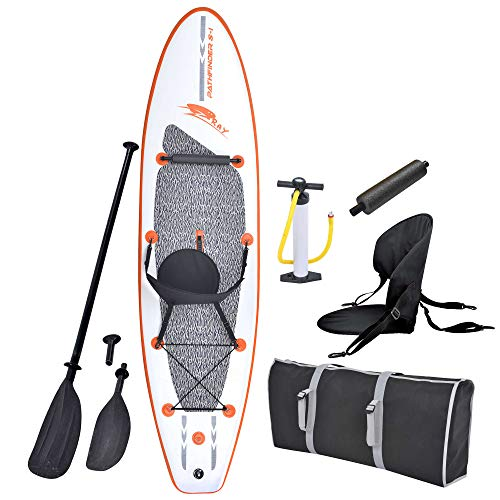 Blue Wave Sports Stingray Inflatable Stand Up Paddleboard with Paddle and Hand Pump, 10-Feet