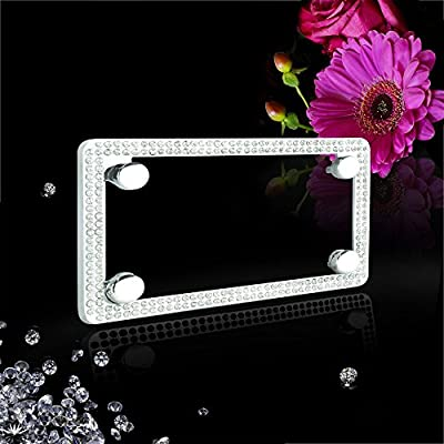 JR2 Premium Sparkling Crystal Motorcycle License Plate Frame with Cap (WHITE): Automotive