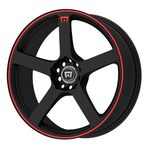 Motegi Racing MR116 Matte Black Wheel With Red Racing Stripe (18×8″/5×100, 114.3mm, 45mm offset)