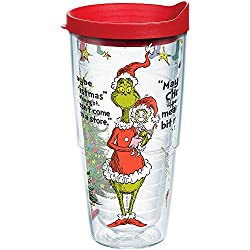 Tervis 1167039 Dr. Seuss - Grinch Christmas Quote Tumbler with Wrap and Red Lid 24oz, Clear