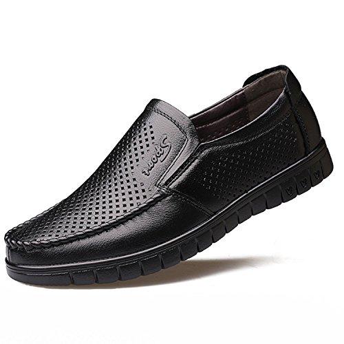 Agujeros Zapatos 2018 Plano Primavera la Ocasionales Amarillo Con 38 Cuero Mocasin Suave Masculinos Hombres los de TOOGOO Mocasines de Zapato de de conduccion Cuero Negro Genuino de Transpirable 0pqqO