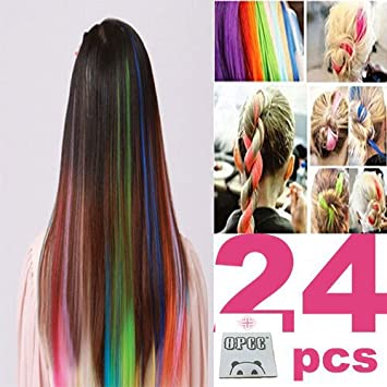 Amazon 24 pcs color opcc bundle 22 inches multi colors party 24 pcs color opcc bundle 22 inches multi colors party highlights colorful clip in synthetic pmusecretfo Image collections