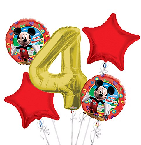 Mickey Mouse Balloon Bouquet 4th Birthday 5 pcs