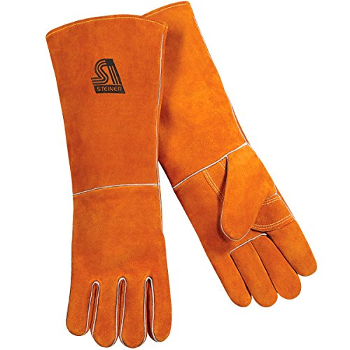 (Steiner 21923-L Welding Gloves, Burnt orange Y-Series 23-Inch Length Shoulder Split Cowhide, Foam Lined, Large)